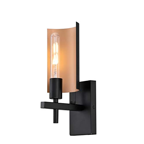 Westinghouse Lighting 6575900 Sirino One-Light Indoor Wall Fixture, Matte Black Finish with Metallic Bronze Accents, Two Tone