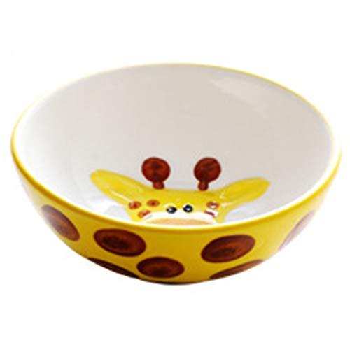 Vajilla infantil de cerámica con vidriado pintado a mano, cuenco de arroz para el hogar, plato de cena, cuenco de desayuno (Color : Yellow, Size : 5.90 * 5.90 * 2.28inch)