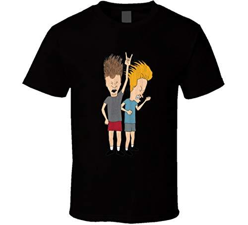 Beavis and Butthead - Maglietta con personaggio dei cartoni animati retrò, colore: nero Nero XL