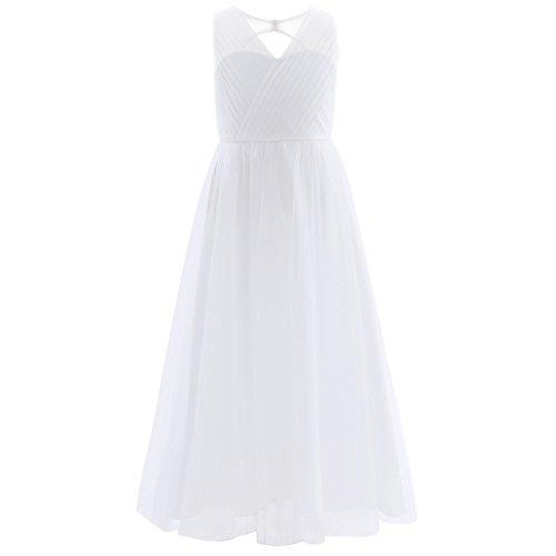 Freebily Robe de Mariage Demoiselle d'honneur Bébé Fille Enfant Tulle Noël Robe de Soirée Cérémonie Dos Nu Robe de Baptême 4-14 Ans Blanc 10 Ans