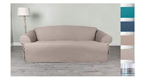 Serta | Relaxed Fit Durable Woven Linen Canvas Furniture Slipcover, T-Sofa, Parchment