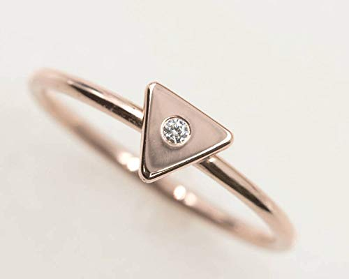 Solid Gold Triangle Ring Gold Triangle Geometric Ring 14K Gold Triangle Ring 14k Gold Dainty Triangle Ring 14K Minimalist Triangle Ring