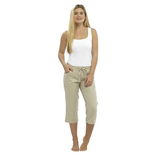 CityComfort Ladies Lino Pantalones Casual Holiday Elasticated Waist Womens Summer Pantalones Pantalones Cortos recortados con Bolsillos (24, Blanco Recortada 3/4)