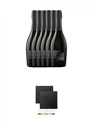Sacchetto Spumante Etichetta Nera Millesimato Extra Dry 6 x 0,75 Liter + Schiefer Glasuntersetzer eckig ca. 9,5 cm Ø 2 Stück