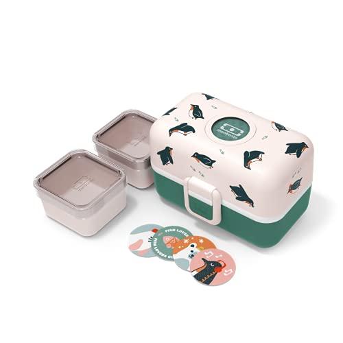 monbento - MB Tresor Green Penguin Brotdose Kinder mit Trennwand - Bento Box Kids mit Fächer - Individuell Gestaltbar - Snack Box