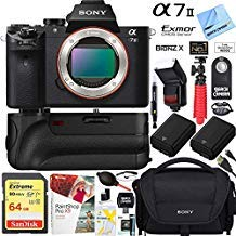 Sony Alpha a7II Mirrorless Interchangeable Lens Camera Body Bundle with 64GB Memory Card, Battery Grip, Flash, Camera Bag, Paintshop Pro 2018, Dual Batteries and Accessories (9 Items)