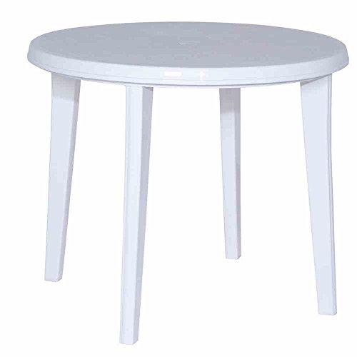 JARDIN 137212 Tisch Lisa, Vollkunststoff ø 90 x H 73 cm, weiß