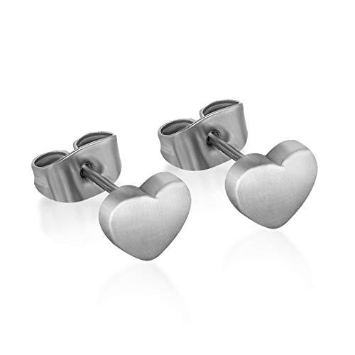 TGNEL Pendientes de tuerca de titanio puro para mujeres y hombres, diseño clásico, hipoalergénicos y sin níquel (corazón sin circonita)