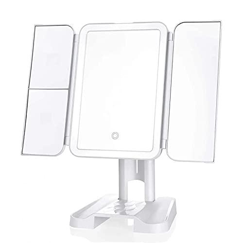 Espejo de Maquillaje con Luces,22 Espejo de Tocador LED con 1x / 2x3x Magnifica,Interruptor de Pantalla Táctil,Fuente de Alimentación Dual,Portátil Triple Maquillaje Espejo Cosmético Iluminado,White