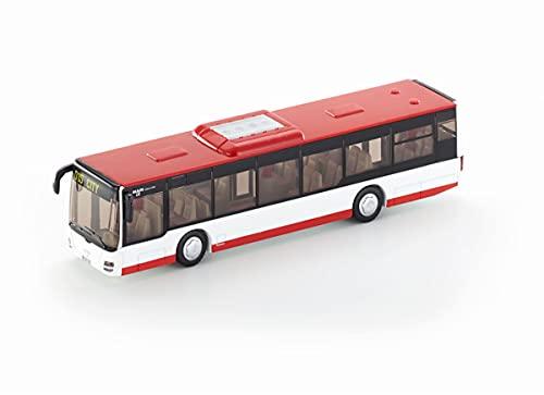 siku 3734, Stadtbus, 1:50, Metall/Kunststoff, Öffenbare Türen, Rot/Weiß