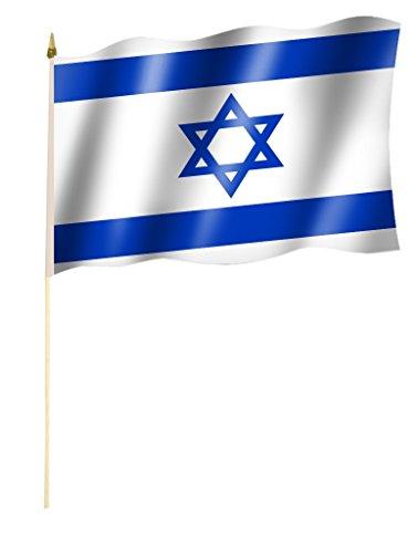 Sportfanshop24 Stockflagge/Stockfahne Israel Flagge/Fahne ca. 30 x 45 cm mit ca. 60cm Stab/Stock
