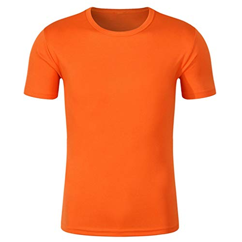 CIKRILAN Homme Manches Courtes Été Sports Running Training Fitness T-Shirt Quick Dry Wicking Breathable Mesh Tee Shirt(M, Orange)