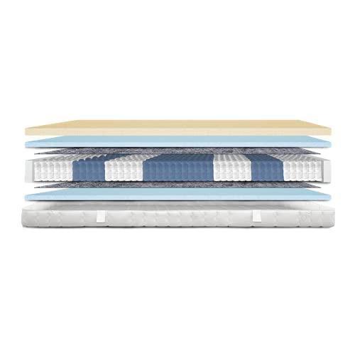 AM Qualitätsmatratzen - Premium Latex-Matratze 120x200cm H3-1000 Federn - Taschenfederkernmatratze - Matratze mit integrierter 4cm Latex-Auflage - 24cm Höhe - Made in Germany