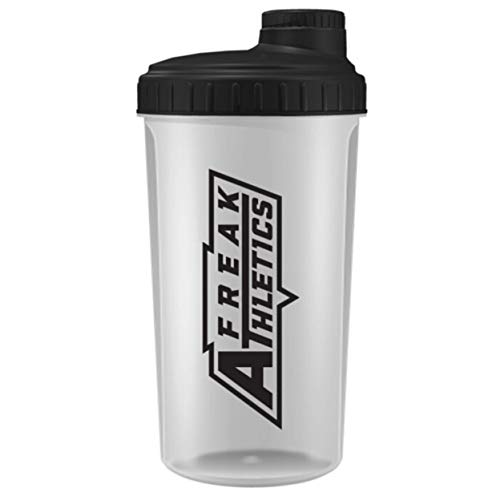 Freak Athletics - Shaker per proteine, 700 ml, con coperchio trasparente, nero