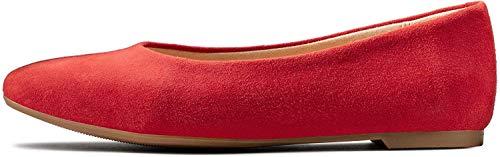 Clarks Chia Violet, Ballerine Punta Chiusa Donna, Rosso Red Suede Red Suede, 40 EU