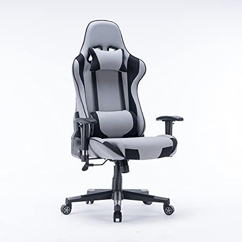 KXY Sedia da Gioco, Sedia da Ufficio ergonomica in Pelle, Regolabile in Altezza e inclinazione, con poggiatesta e Supporto Lombare (Grigio)