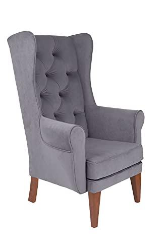 grospol Ohrensessel Snap Chesterfield, H115 x B87 x T69 cm, Sitzhöhe 41 cm, Sitzfläche B55 x T50 cm, Soft Touch Polsterstoff