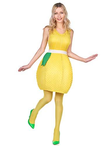 Vegaoo - Disfraz Vestido limón Amarillo Mujer - Única