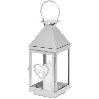 Geschenke 24, gepersonaliseerde bruiloftslantaarn, 25 bruiloften, hoogwaardige CILIO lantaarns voor zilveren bruiloft, wij graveren twee namen en een datum 45 x 16 x 16 cm (H x B x T) zilver