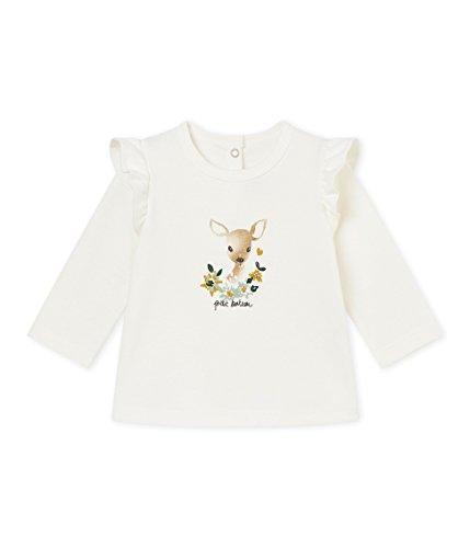 Petit Bateau SF BLOUSES ML T-shirt manches longues Bébé fille Blanc (Marshmallow 03) 2 ans (Taille fabricant: 24M 24MOIS)