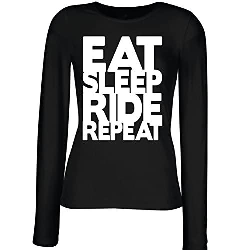 lepni.me Camisetas de Manga Larga para Mujer Comer - Dormir - Conducir - Repetir - para Ciclistas - Cotizaciones para Amantes de la Bicicleta (M Negro Multicolor)