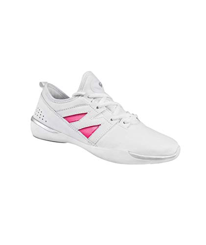 GK Accent Cheer Shoes, Cheerleading Dance Fashion Sneakers, Athletic Sport Training Lace-up Flats for Girls (White, 12)