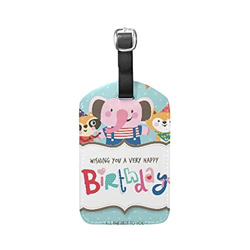 Simpatico Elefantino Punto Celebrazione Etichette per Bagagli Viaggio in Pelle Valigie Bagaglio Etichetta Indirizzo Nome Id Tag per il Aereo Identificare(3PACK)