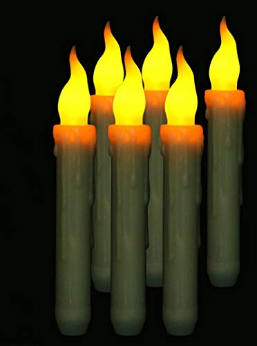 Al aire libre 6pcs llevadas sin llama de la forma cónica vela parpadeante Batería operar cera Sumergido mesa decoración de velas de Navidad boda fiesta Inicio w / Timer Temporizador ( Color : Amber )