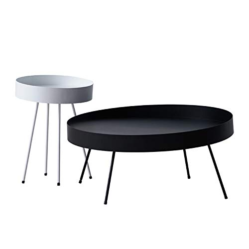 yaunli Coffee table Set Of 2 Round Metal Nesting Coffee Table Accent Tables For Living Room Home Living room coffee table (Color : Metal, Size : 2 pieces)
