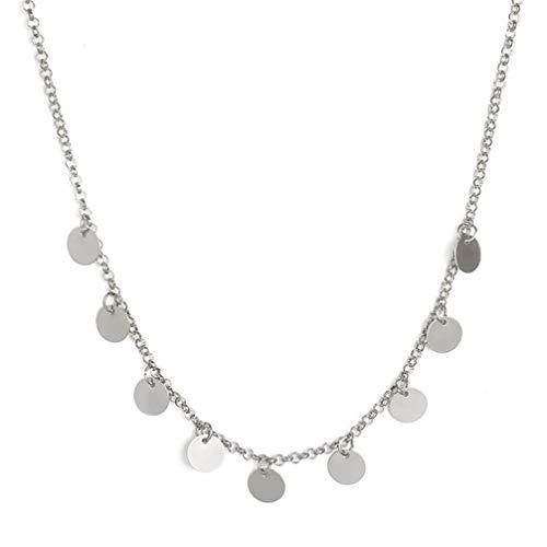 Toporchid Damen Halskette Beads Halskette Kette Geschenk für Frauen Mädchen Mutter Freundin (Silber)