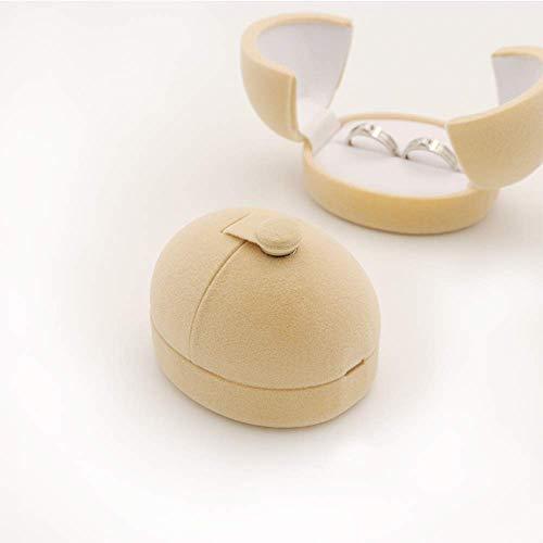 N/H 1 pieza huevo Sharp doble terciopelo compromiso pendientes boda anillos caja de regalo para dos anillos joyería titular embalaje venta al por mayor