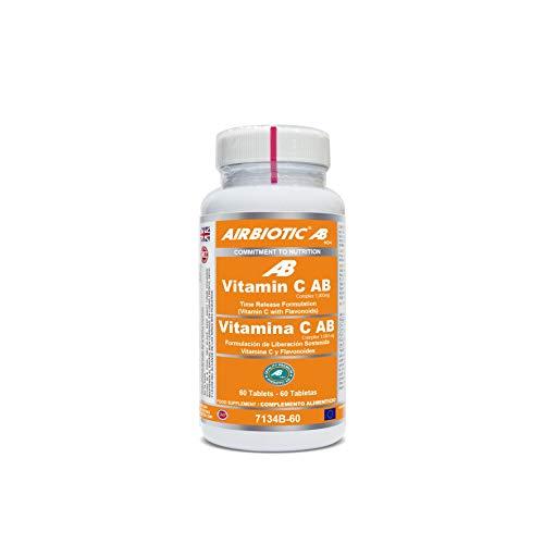 Airbiotic AB, Vitamin C Complex, 1.000 mg, 60 Tabletas de Liberación Sostenida, Vitaminas para el Sistema Inmunitario y Contra la Fatiga