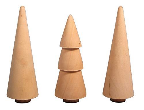 Rayher 46541505 Holz Bäume, 2.9cm, natur, sortiert 7.8-8.5cm Höhe, Box 3Stück, Normal