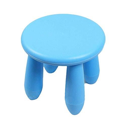 Kinder Schreibtisch Kindertisch Hocker Kinder Tische Stühle Runde Mini Schülerstuhl, Kinderhocker aus Kunststoff Sicherheit Stabile Kindergarten Außenleuchte Kindersitz (Color : Blue)