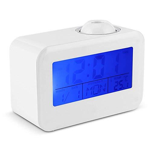 ZHHZ Projektion Digitaluhren LCD-Anzeige Wecker Sprachsteuerung Deckenprojektion mit Temperatur Datum Kalender Snooze