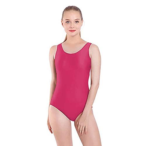 Maillot de Danza Ballet Gimnasia sin Mangas con Correa Ancha, Leotardo Clásico Mujer de Cuello Redondo (Fucsia, M)