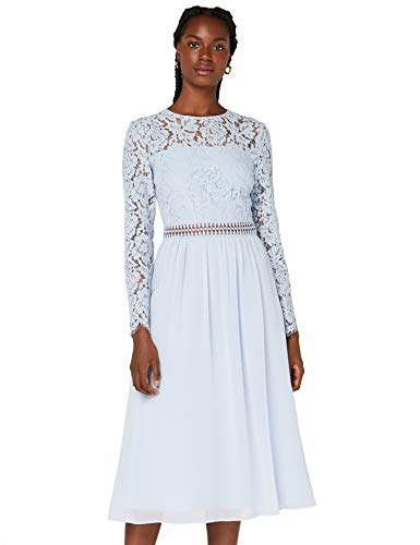 Amazon-Marke: TRUTH & FABLE Damen Midi A-Linien-Kleid aus Spitze, Blau (Kentucky Blue), 34, Label:XS