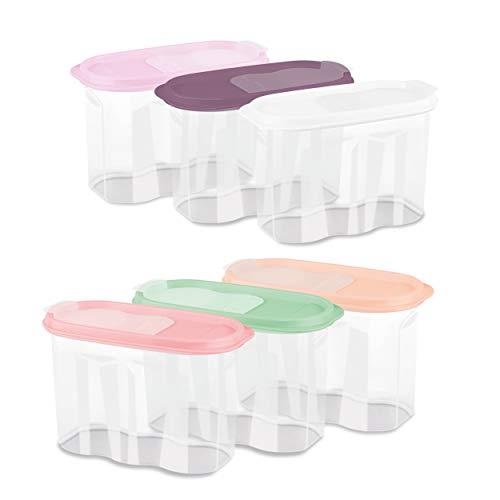 Schüttdosen Frischhaltedosen Set mit Deckel Vorratsdosen BPA-Frei 1,7l für Nudeln Zucker Tee Kaffee Müslis Spülmaschinenfest (4 Farben, 6er Set)