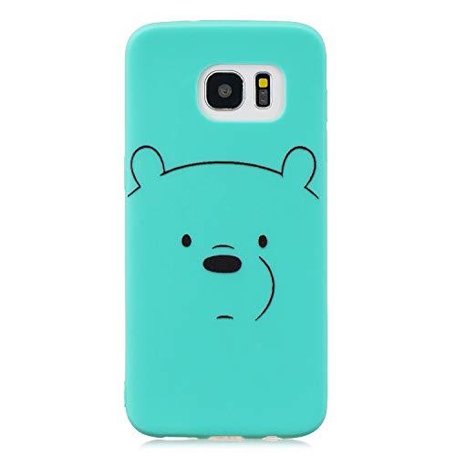 HopMore Funda para Samsung Galaxy S7 Edge Silicona con Cordón Dibujos Divertidas 3D Carcasa Galaxy S7 Edge Resistente TPU Blando Case Kawaii Fina Antigolpes Caso Gracioso Thin - Oso Verde