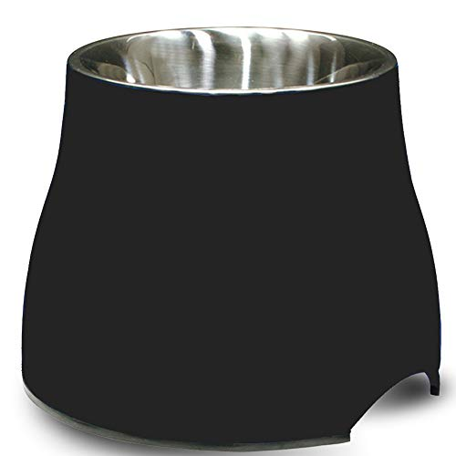 Dogit Elevated Dog Bowl, Stainless Steel Dog Food and Water Bowl for Small Dogs, Black, 73744