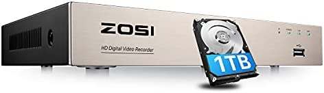ZOSI H.265+ 5MP Lite 8 Channel Hybrid 4-in-1 HD TVI CCTV DVR, 8CH 1080P Surveillance Video Recorders with Hard Drive 1TB for Home Security Camera System,Mobile Remote Access,Motion Detection