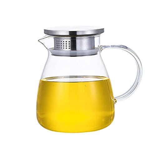 Jarra de Agua de Vidrio con Tapa y Filtro, Jarra de Jugo, para Agua fría/Caliente, té de limón y Bebida de Jugo, 900 ml