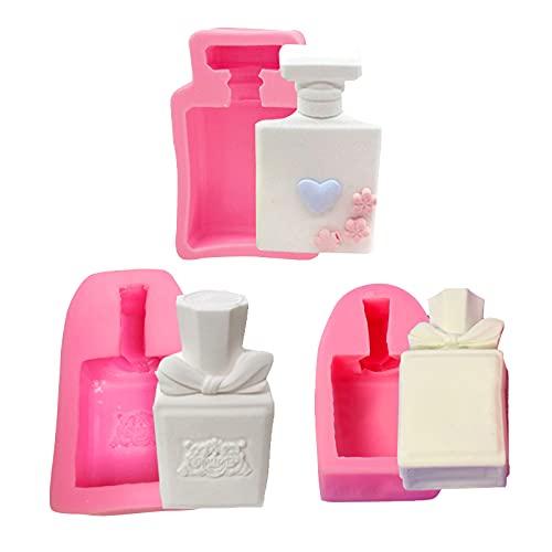 WonDerfulC - Botella de perfume 3D con pigmentos, moldes de arcilla, moldes de chocolate, dulces, bandeja para herramientas de decoración de magdalenas de fundición de resina, 3 unidades