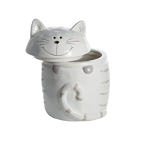 SPOTTED DOG GIFT COMPANY Keramik Vorratsdose mit Deckel, Kaffee Tee Zucker Küche Aufbewahrungsbehälter Katze Motiv (weiß) - Katze Geschenk für Katzenliebhaber Katzenfreunde