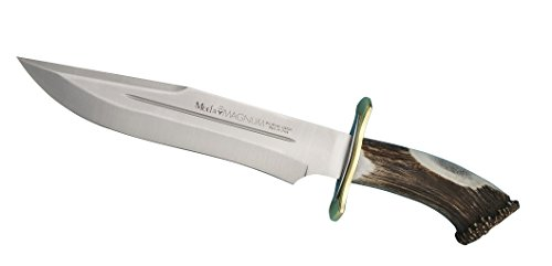 Muela MAGNUM-26 Red Stag Crown Antler Handle Hunting Knife with Leather Sheath