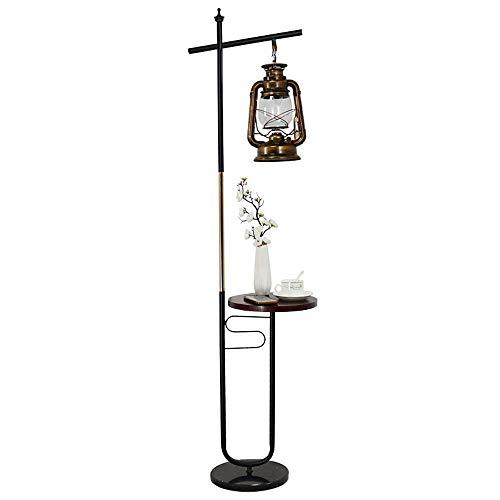 Lámpara de pie de estilo retro, E27 Lámpara de pie de lectura de pie Lámparas de salón con mesa de madera Lámparas de pie de hierro forjado con base de mármol para sala de estar, dormitorio, mesi