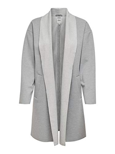 ONLY Damen ONLNEVE-CARA L/S Coatigan CC PNT Mantel, Light Grey Melange, L