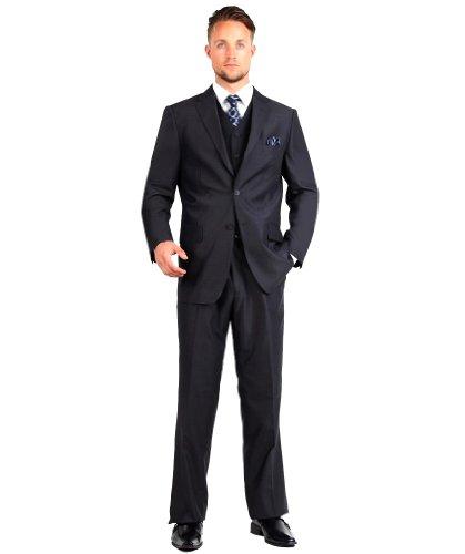 Carlo Lusso Mens Suit 2 Button 3 Piece Modern Fit with Vest Black 52R