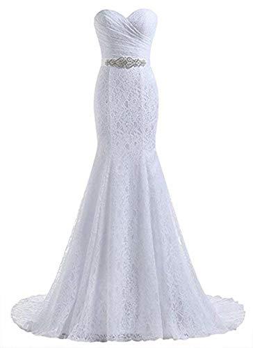 Likedpage Women's Lace Mermaid Bridal Wedding Dresses (US10-2, White)
