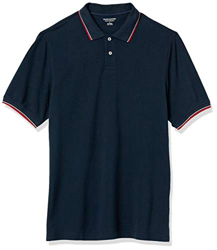 Amazon Essentials Men's Regular-Fit Cotton Pique Tipped Polo, -Navy/White and Red Tipped, Large